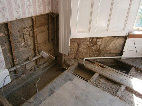 dry rot repairs in progress