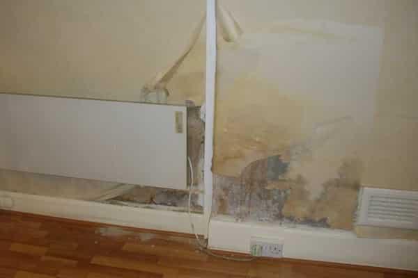 Rising damp affecting property interior wall - peeling wallpaper