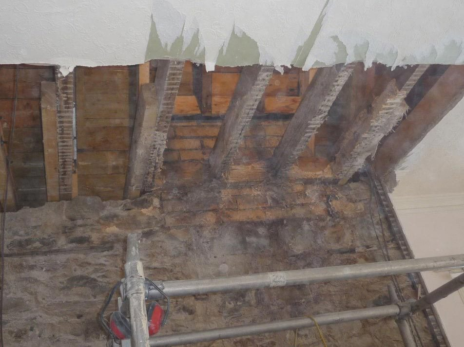 Wall and ceiling opening created during repairs