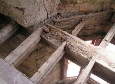 Floor opening - floor joists affected by dry rot